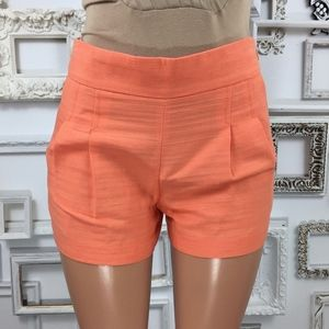 J. Crew | Linen Blend Pleated Shorts in Coral